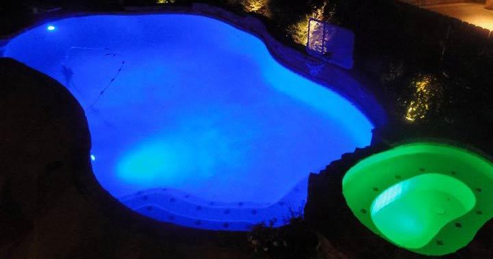 LED Lit Pool: Blue & Green