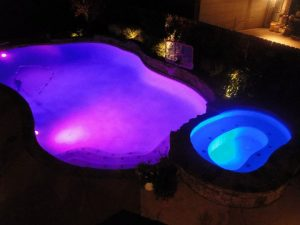 Swimming Pool with Colored LED Lighting