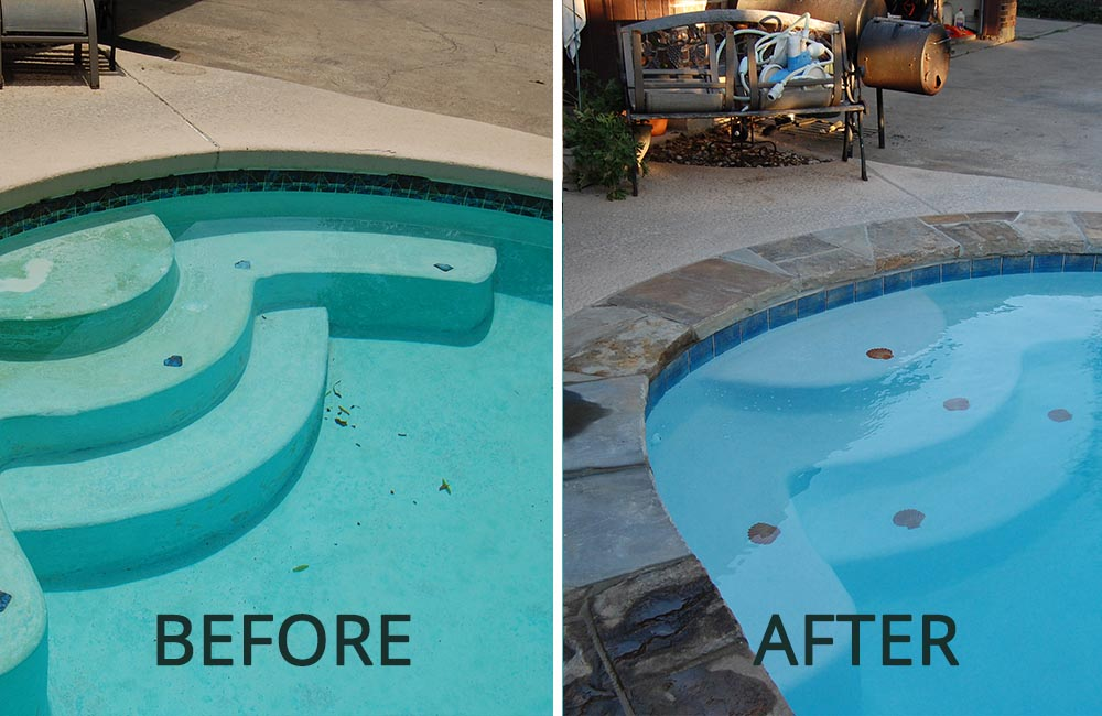 Before and After Pic of Renovated Swimming Pool with Steps