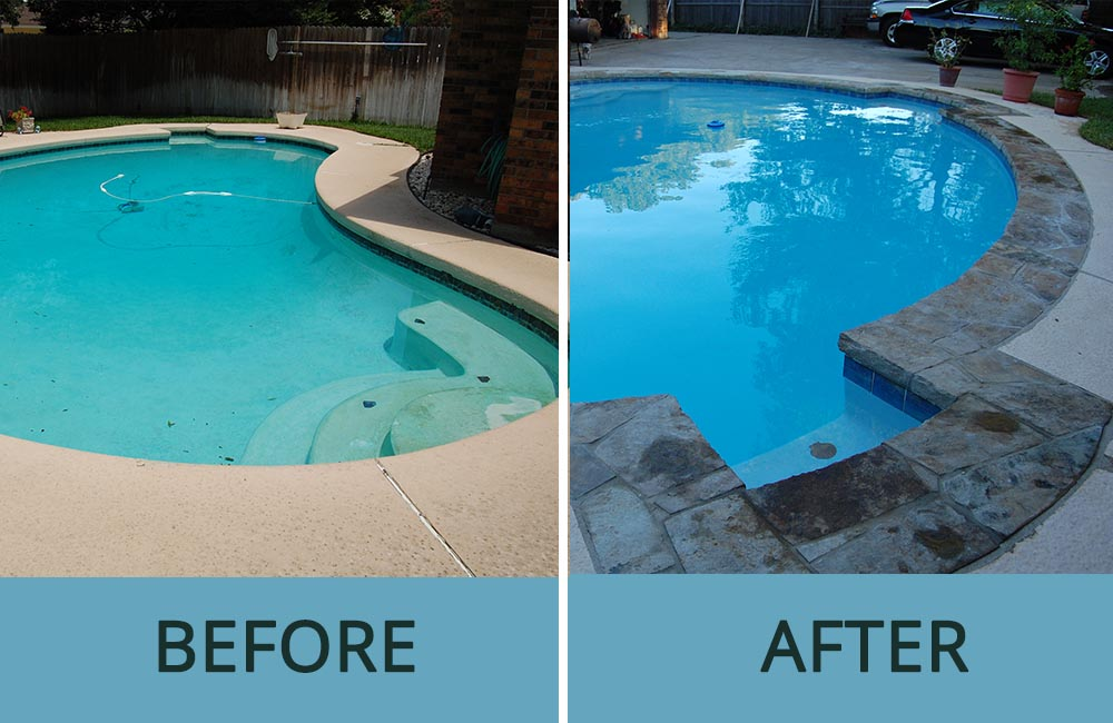Before and After Pic of Beautiful Renovated Swimming Pool